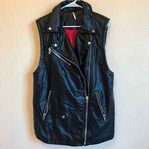 Free People Moto Faux Leather Vest Oversized Sz M